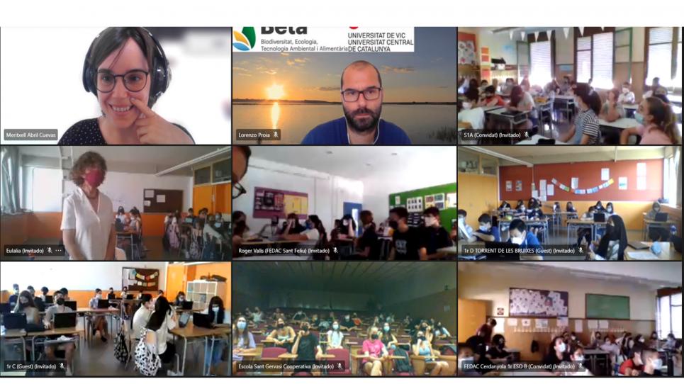 Congrés virtual del projecte amb escolars Pescadors de plàstic que s'ha fet avui